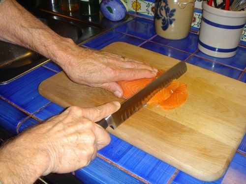 Cold Smoked Salmon Slicing